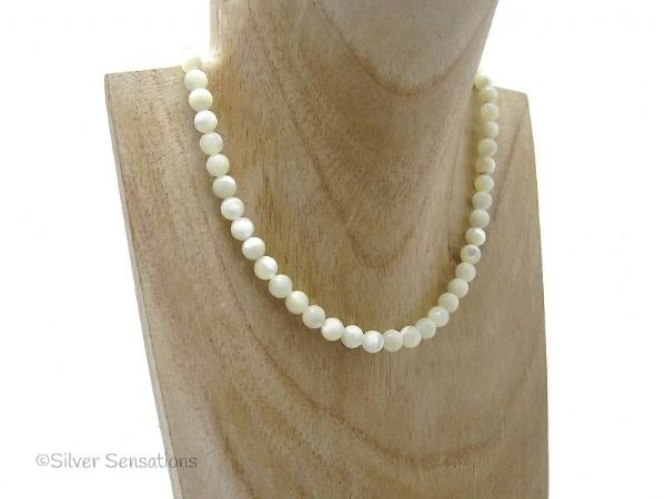 Ivory Cream Mother Of Pearl Rounds Sterling Silver Necklace | Silver Sensations